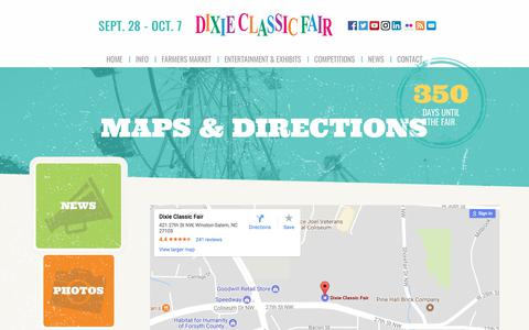 Screenshot of Maps & Directions Page dcfair.com - Maps & Directions - Dixie Classic Fair - captured Oct. 12, 2017