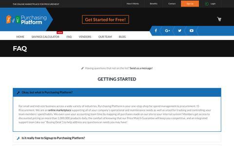 Screenshot of FAQ Page purchasingplatform.com - E-Procurement FAQ | E-Marketplace | Purchasing Platform - captured July 13, 2018