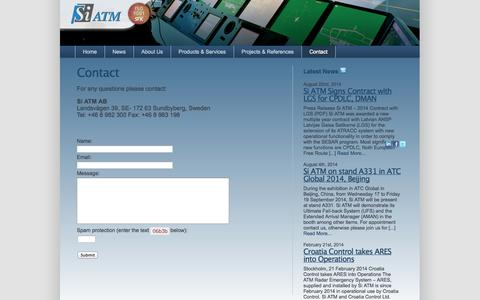 Screenshot of Contact Page siatm.com - Contact Si ATM for information about simulators and test tools | ATM and training systems from Si ATM - captured Oct. 26, 2014
