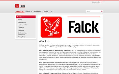 Screenshot of About Page falck.com.au - About Us - captured Oct. 2, 2018