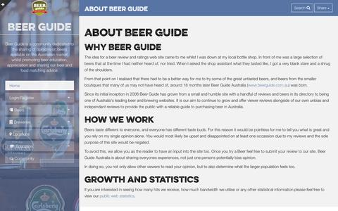 Screenshot of About Page beerguide.com.au - About Us :: Beer Guide - captured Sept. 30, 2014