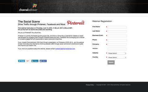 Screenshot of Landing Page channeladvisor.com - The Social Scene: Drive Traffic through Pinterest, Facebook & More  | ChannelAdvisor - captured Oct. 2, 2016