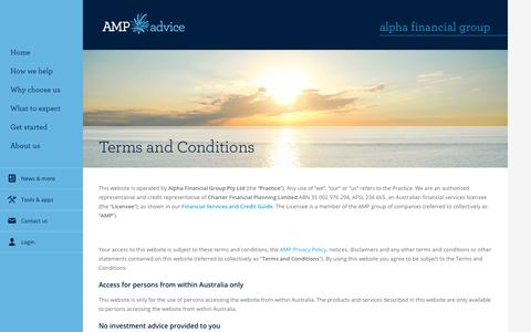 Screenshot of Terms Page amp.com.au - Terms and conditions - captured Aug. 25, 2017