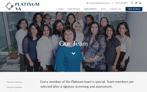 Screenshot of Team Page platinumva.com - Our Team • Platinum VA - captured Nov. 5, 2018