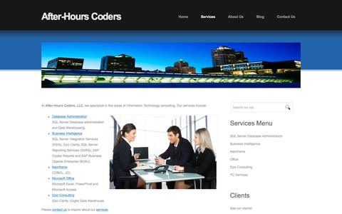 Screenshot of Services Page afterhourscoders.com - Welcome to AfterHoursCoders.com - IT professionals by day, hired coders by night! SQL Server DBA, Business Intelligence and Reporting Consulting Services - captured Nov. 20, 2016