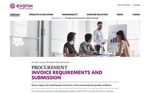 Invoice requirements and payment method - Evonik Industries AG