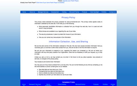 Screenshot of Privacy Page cornerstoneit.com - Cornerstone IT | Privacy Policy - captured Sept. 30, 2014