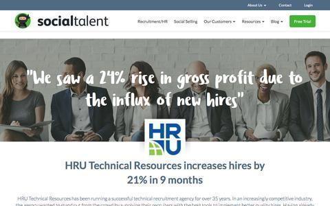 Screenshot of Case Studies Page socialtalent.co - HRU Technical Resources - Social Talent - captured June 29, 2017