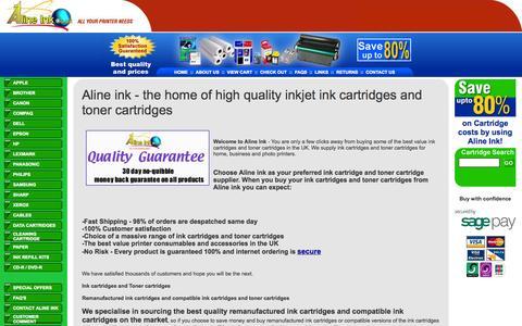 Screenshot of Home Page alineink.co.uk - Inkjet ink cartridges and toner cartridges. Buy your ink cartridges and toner cartridges from Aline ink - captured Sept. 30, 2014