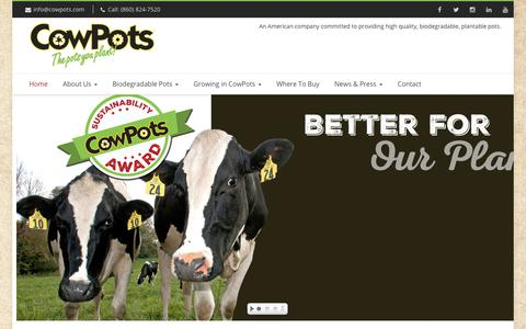 Screenshot of Home Page cowpots.com - CowPots CowPots are the best biodegradable seed starting pots - captured July 22, 2018