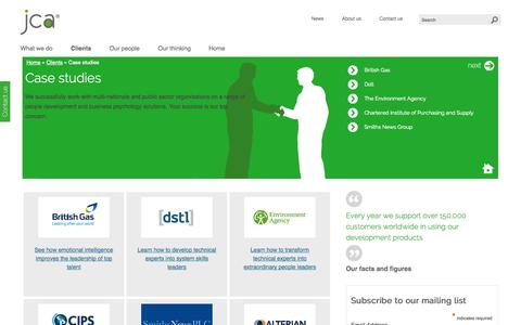 Screenshot of Case Studies Page jcaglobal.com - Case studies | JCA Global - captured Oct. 2, 2014