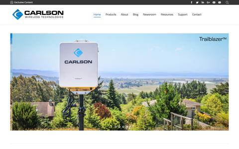 Screenshot of Home Page carlsonwireless.com - Carlson Wireless Technologies – Leaders in TV White Space - captured July 12, 2018