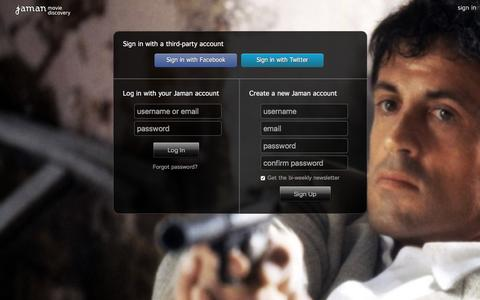 Screenshot of Login Page jaman.com - Sign In - Jaman Movie Discovery - captured Dec. 9, 2015