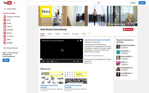Screenshot of YouTube Page youtube.com - Hotz Brand Consultants  - YouTube - captured Oct. 23, 2014