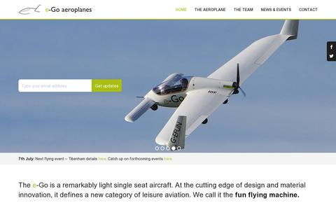 Screenshot of Home Page e-goaeroplanes.com - e-Go aeroplanes - Welcome - captured July 11, 2014