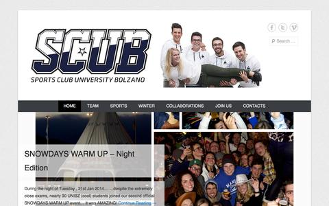 Screenshot of Menu Page unibz.it - S.C.U.B. | Sports Club University Bolzano - captured Sept. 19, 2014