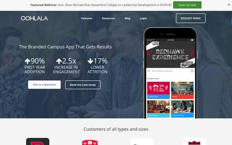 Screenshot of Home Page oohlalamobile.com - OOHLALA - Improving the Student Experience - captured Nov. 29, 2016