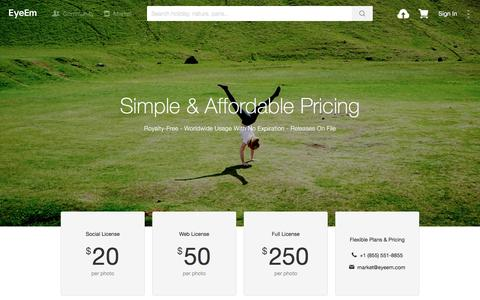 Screenshot of Pricing Page eyeem.com - Licensing | EyeEm - captured May 4, 2016