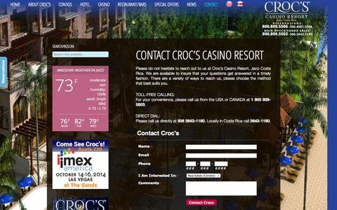 Screenshot of Contact Page crocscasinoresort.com - Contact Croc's Casino Resort, Jaco, Costa Rica | CrocsCasinoResort.com - captured Sept. 30, 2014