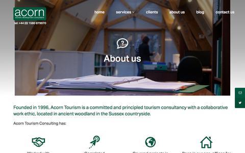 Screenshot of About Page acorntourism.co.uk - About Us | Acorn Tourism Consulting | Tourism Marketing | International Tourism Management | Sustainable Tourism Consulting - captured Nov. 20, 2016