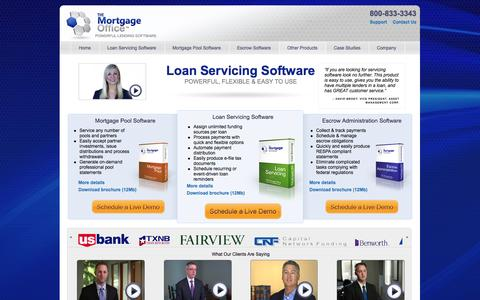 Screenshot of Home Page themortgageoffice.com - Mortgage Servicing, Loan Servicing Software | The Mortgage Office™ - captured Oct. 9, 2014
