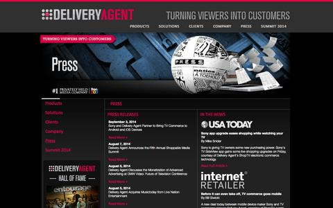 Screenshot of Press Page deliveryagent.com - Media & Press | Powering Shopping Enabled Entertainment | Delivery Agent, Inc. - captured Sept. 15, 2014