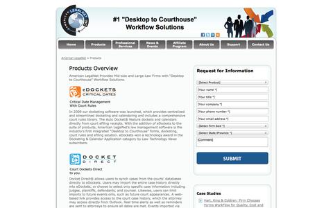 Screenshot of Products Page alncorp.com - Docketing Software, Legal Firm Software, American LegalNet - captured Oct. 3, 2014