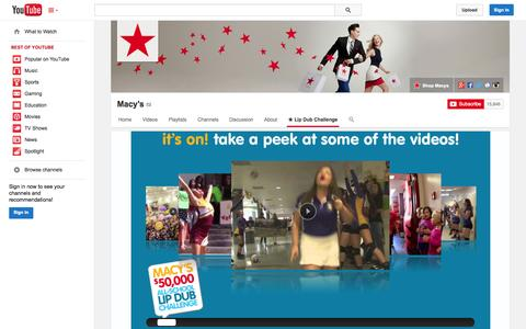 Screenshot of YouTube Page youtube.com - Macy's  - YouTube - captured Oct. 29, 2014