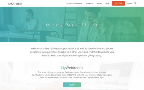 Screenshot of Support Page webtrends.com - Technical Support and Resources | Call Tech Support | Webtrends - captured May 3, 2017