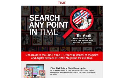 Screenshot of Landing Page time.com - TIME Vault Subscription Offer - captured Nov. 4, 2016