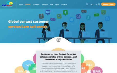 Screenshot of Support Page callnovo.com - Global Contact Customer Service / Care Call Center - captured Nov. 24, 2019