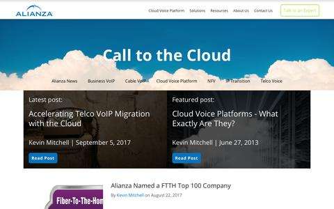 Screenshot of Blog alianza.com - Call to the Cloud - captured Oct. 8, 2017