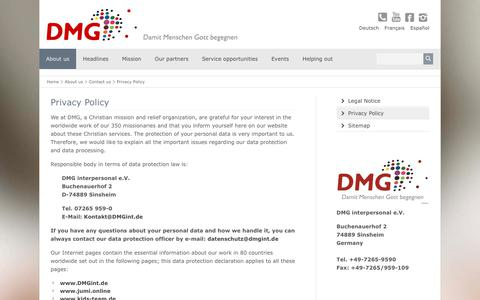 Screenshot of Privacy Page dmgint.de - Privacy Policy - DMG - captured Oct. 7, 2018