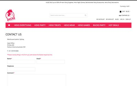 Screenshot of Contact Page peckaproducts.com.au - Hens Party Supplies Shop Contact Us - captured July 11, 2016