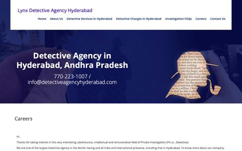 Screenshot of Jobs Page detectiveagencyhyderabad.com - Careers with Private investigation Agency in hyderabad, Detectives in Hyderabad, Pre Matrimonial - captured Sept. 30, 2018
