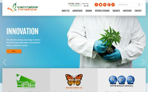 Screenshot of Home Page cannabiskinetics.com - Cannabis Kinetics, Corp. - captured Oct. 6, 2014