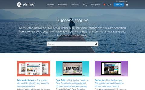 Screenshot of Case Studies Page skimlinks.com - Success Stories | Skimlinks - captured Nov. 21, 2015