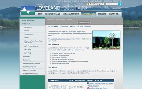 Screenshot of About Page cityofloveland.org - City of Loveland, CO : About Us - captured July 13, 2016