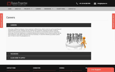 Screenshot of Jobs Page elysium.in - Elysium Job Portal | Elysium properties - captured Sept. 28, 2018