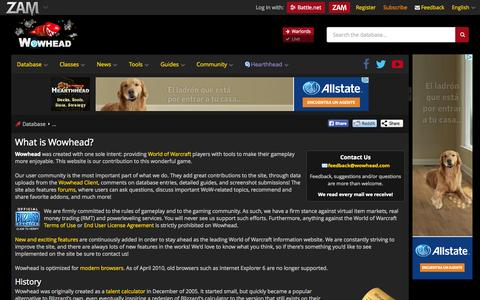 Screenshot of About Page wowhead.com - What is Wowhead? - Wowhead - captured Sept. 19, 2014