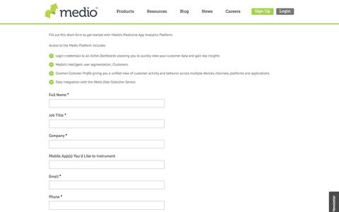 Screenshot of Signup Page medio.com - Get Started | Medio - captured July 3, 2016