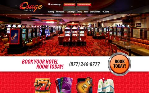 Screenshot of Home Page osagecasinos.com - Home | Osage Casinos - captured Sept. 30, 2014