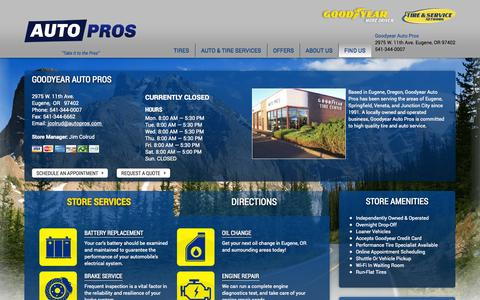 Screenshot of Contact Page autopros.com - Contact Goodyear Auto Pros | Tires & Auto Repair Shop in Eugene, OR - captured Oct. 1, 2014