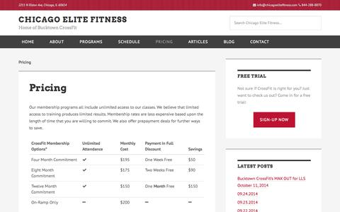Screenshot of Pricing Page chicagoelitefitness.com - Pricing - Chicago Elite Fitness - Bucktown CrossFit - captured Sept. 29, 2014