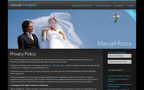 Screenshot of Privacy Page cercasifotografo.com - Privacy Policy - Cercasi Fotografo - captured Dec. 8, 2015