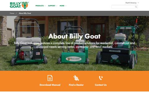 Screenshot of About Page billygoat.com - About Billy Goat | Billy Goat - captured Sept. 23, 2018