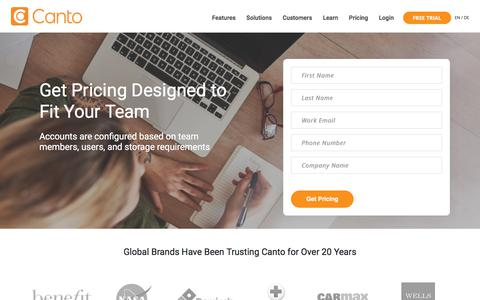 Screenshot of Pricing Page canto.com - Pricing - Canto - The Leader in Digital Asset Management Solutions - captured May 23, 2018