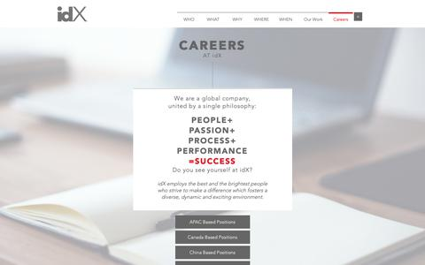 Screenshot of Jobs Page idxcorporation.com - Careers at idX - captured Feb. 13, 2019