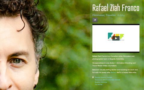 Screenshot of Home Page rafaelziahfranco.com - Rafael Ziah Franco  |  Film + Animation + Photo - captured Oct. 6, 2014