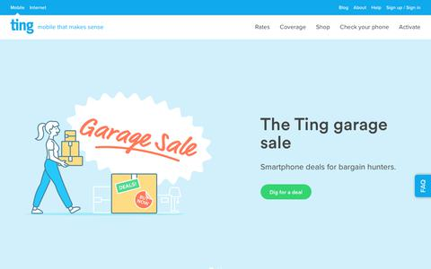 Screenshot of Home Page ting.com - Ting is a smarter way to do mobile. Check Your Savings. - captured April 13, 2019